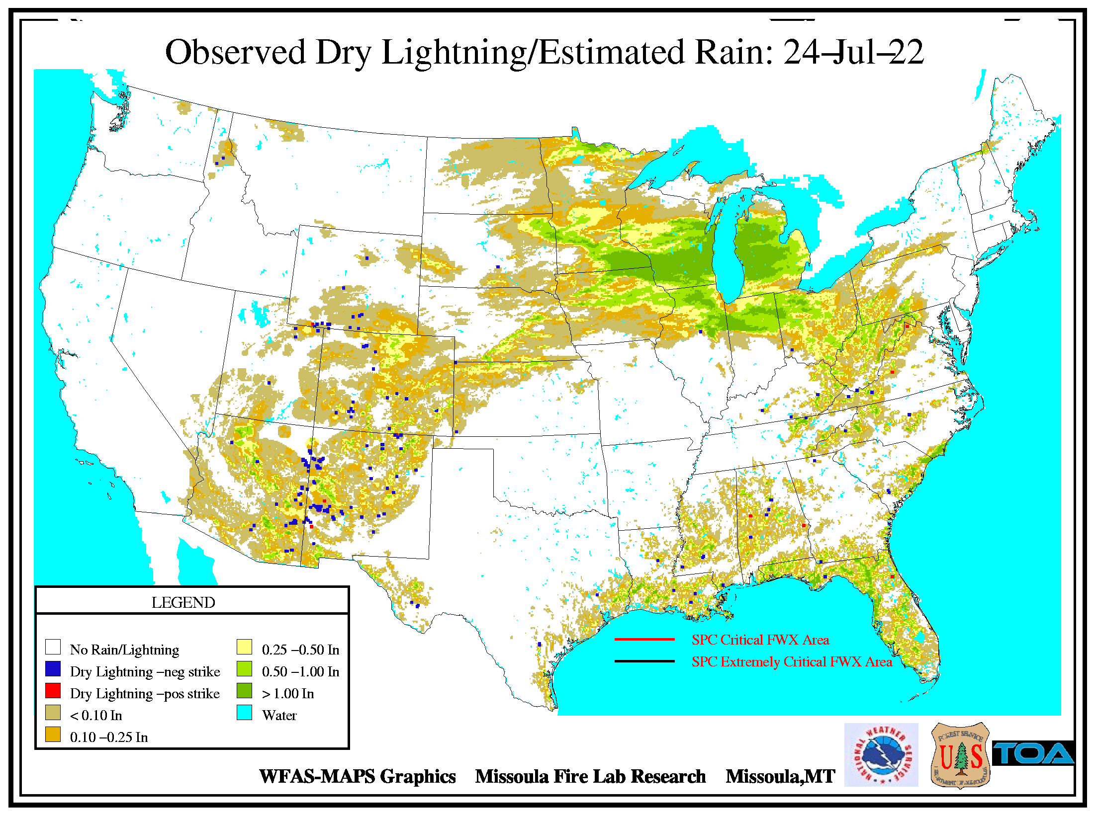 United States Observed Lightning Estimated Rain