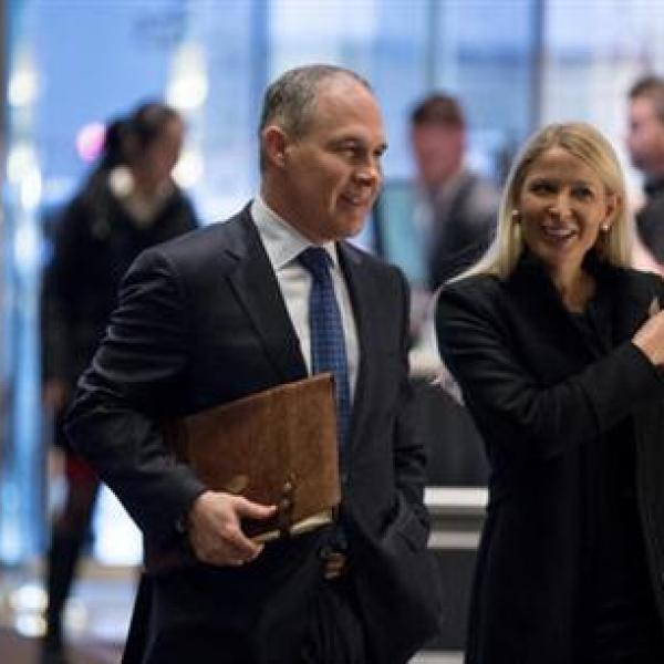 Oklahoma Attorney General Scott Pruitt arrives at Trump Tower in New York Wednesday. AP Photo._261715