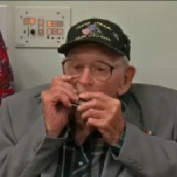World War II veteran receives overdue medals after shrapnel found in leg