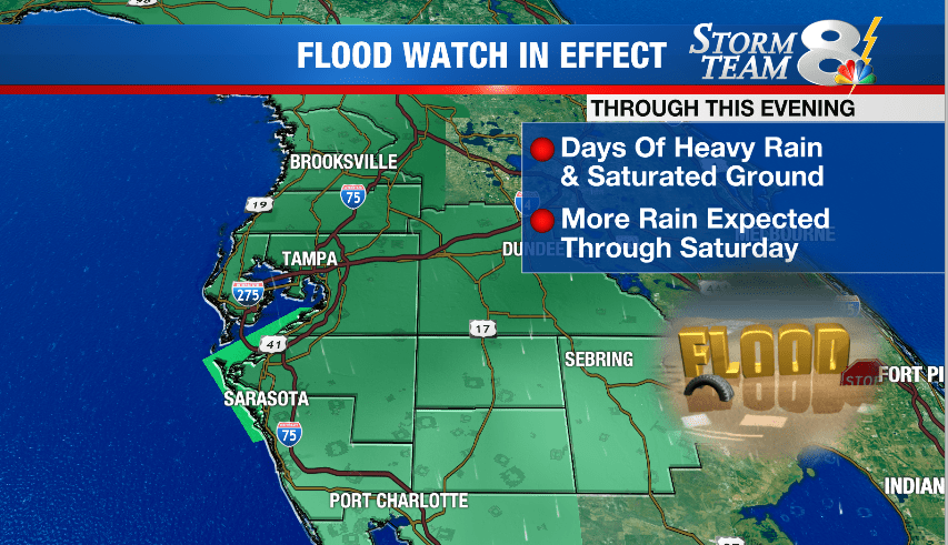 STORM TEAM 8 FORECAST: Downpours coming off Gulf. Flood Watch through this evening.