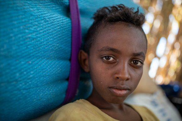 A boy in Um Rakuba refugee camp in eastern Sudan