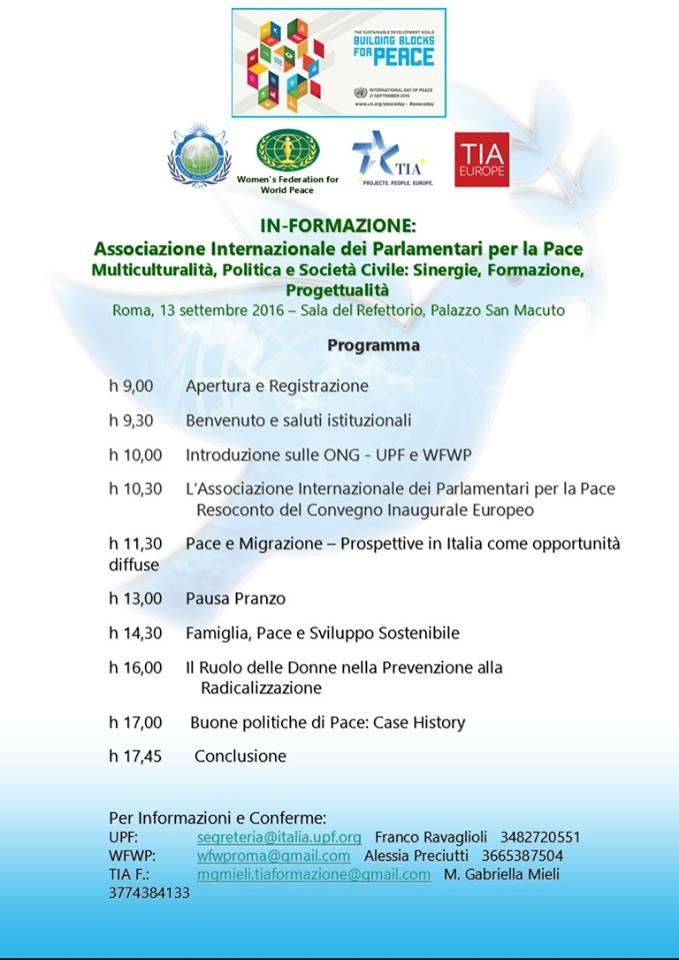 E' necessario dare la conferma di partecipazione entro il giorno 8 Settembre a: Alessia Preciutti: wfwproma@gmail.com tel.3665387504