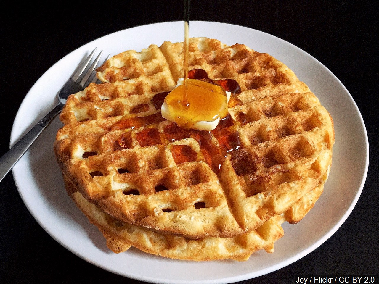 Waffle with butter and syrup