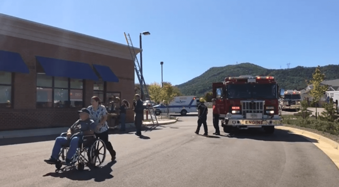 The scene at Davita kidney dialysis center in Daleville as patients were evacuated due to possible smoke in the building. A source of the smoke has not been found. (Photo: Hayley Henson)