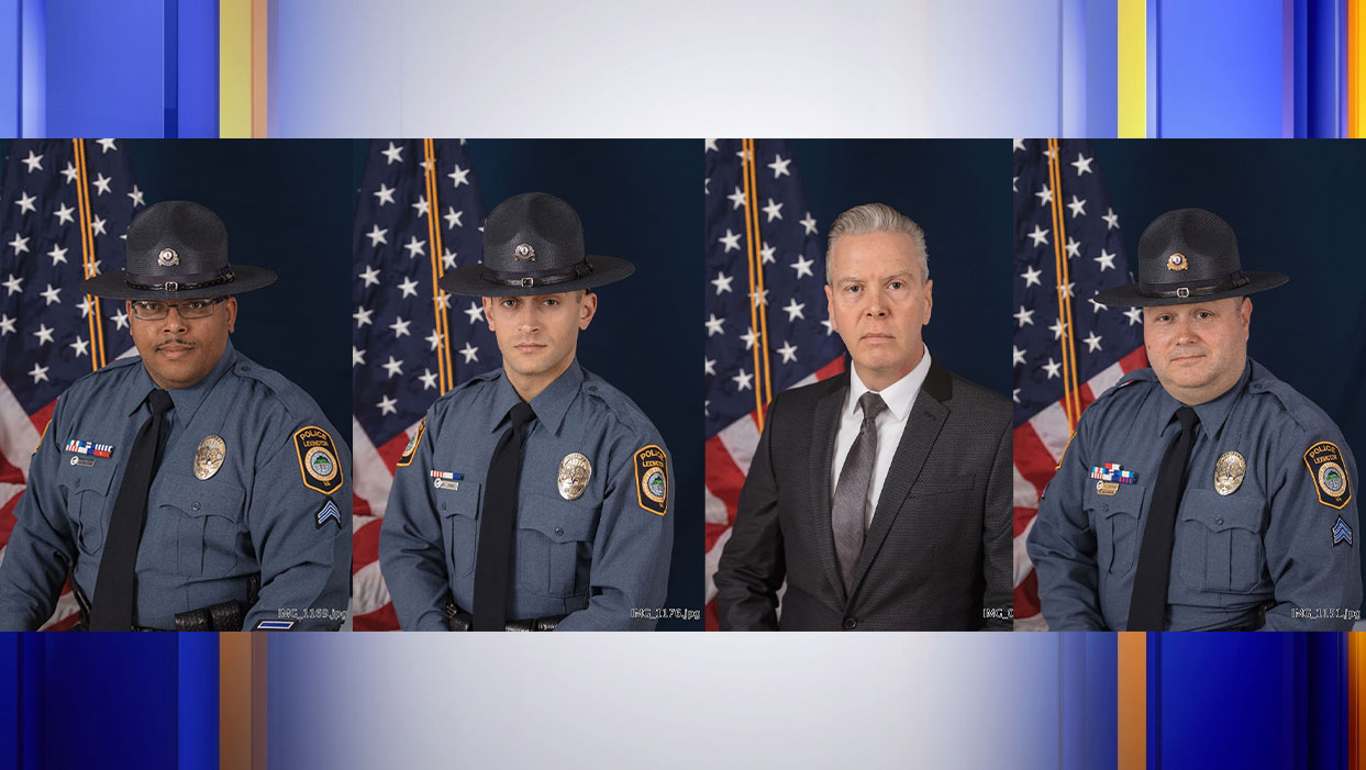 Corporal A.W. Britton, Officer M.D. Lombardi, Detective N.B. Kesterson, and Sergeant M.E. Huffman were honored by the Lexington Police Department on Friday. (Photos: Courtesy Lexington Police Department)