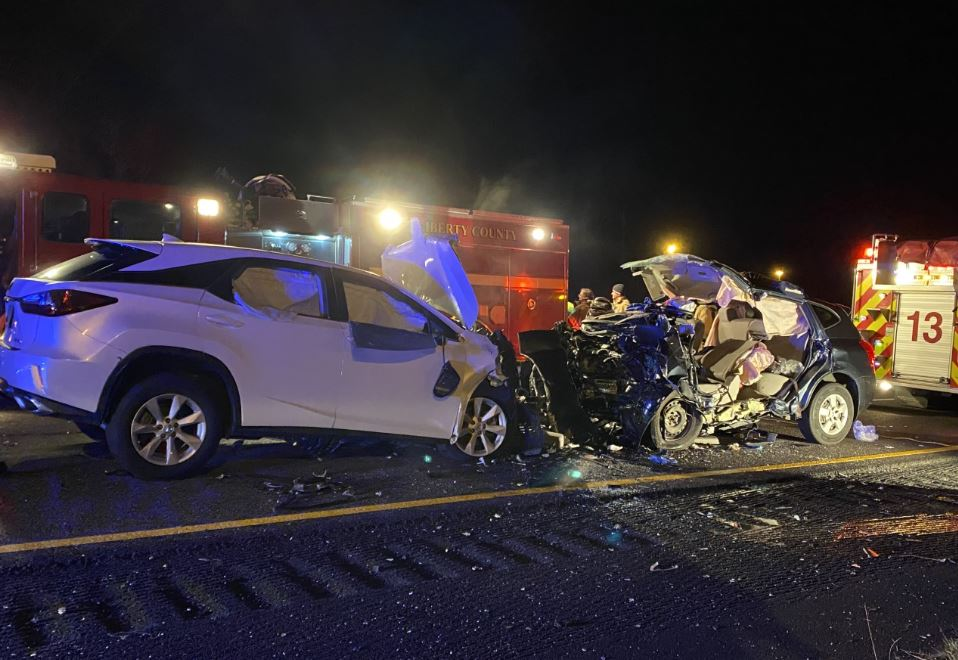 Six people were killed in a head-on collision on I-95 in Georgia around 2 a.m. on Sunday, Feb. 23. (Photo: Courtesy WSAV)