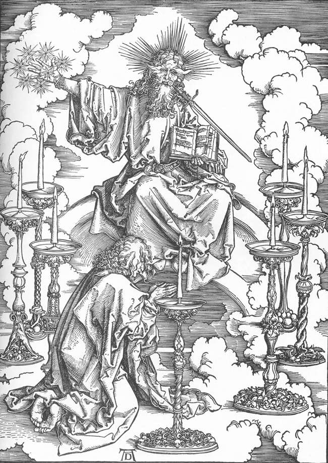 Larry Hunt Bible Commentary // Albrecht Dürer The Revelation of St John: 2. St John's Vision of Christ and the Seven Candlesticks