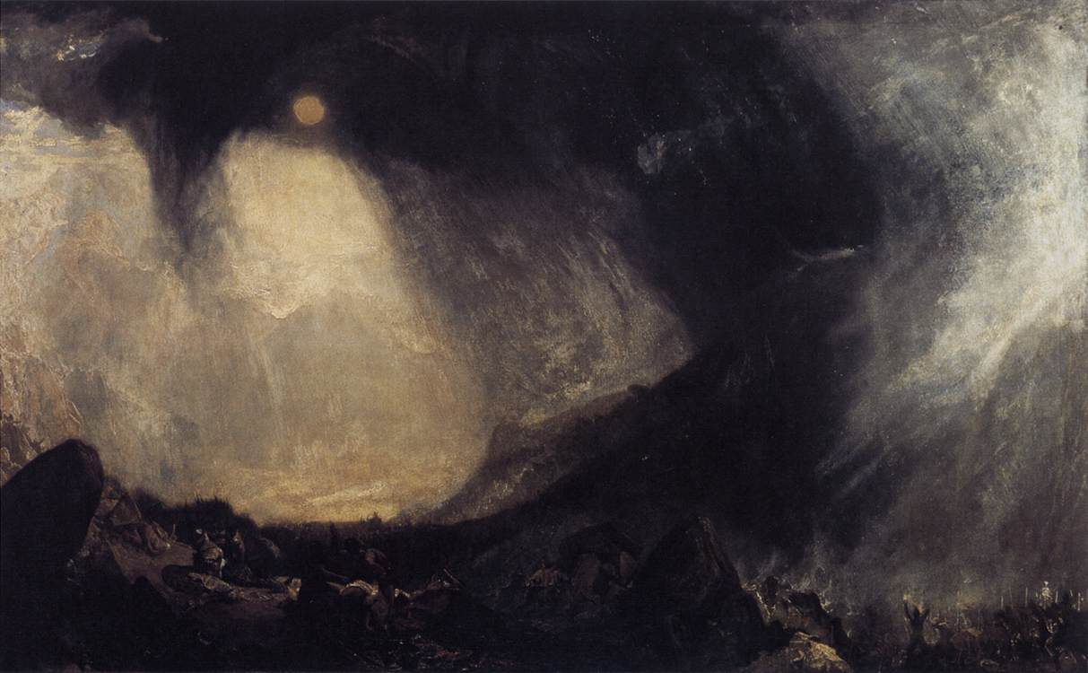 "J.M.W.Turner, ""Snow Storm, Hannibal and his Army Crossing the Alps"", 1812, Oil on canvas, 145 x 236,5 cm, Tate Gallery, London"