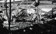 Aftermath of fire which destroyed the studios of WGBH, Boston at 84 Mass Ave. in 1961