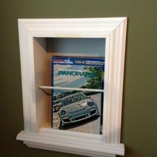 bathroom magazine racks in wall