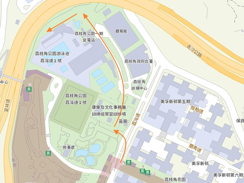 From Mei Foo MTR to Lai Chi Kok Park Swimming Pool