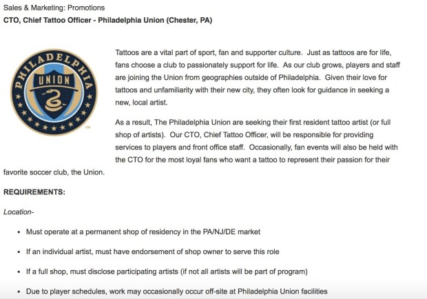 The Philadelphia Union Are Hiring A Chief Tattoo Officer Dirty