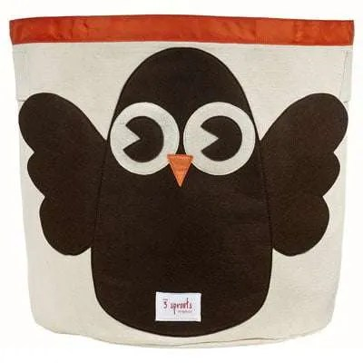 3 Sprouts Cotton Canvas Storage Bin - Owl
