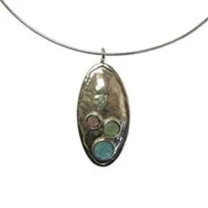 Oval Shaped Silver and Gemstone Pendant