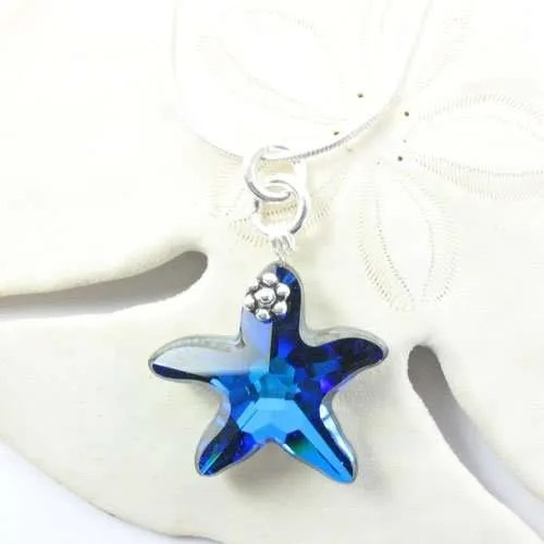 Swarovski Blue Starfish Pendant