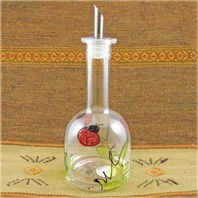 Hand Painted Glass Cruet - Ladybug