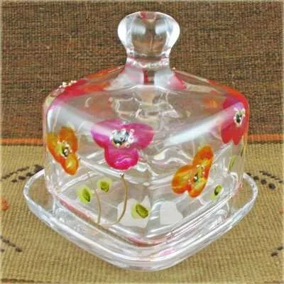 Hand Painted Glass Butter Dish - Red Flowers