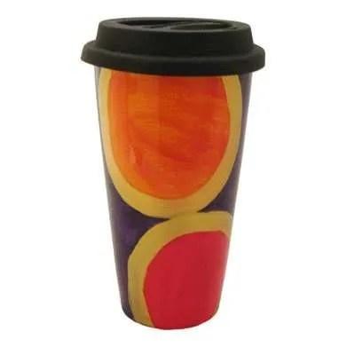 Hand Painted Double Wall Porcelain Coffee Mug