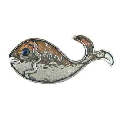 Sterling Silver Fish Shaped Brooch