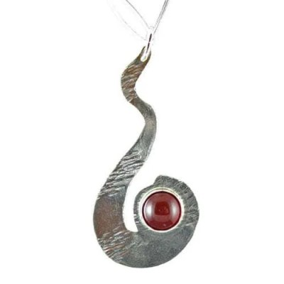 Sterling Silver Pendant with a Carnelian Gemstone
