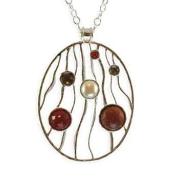 Large Oval Silver Pendant with Gemstones and Pearl