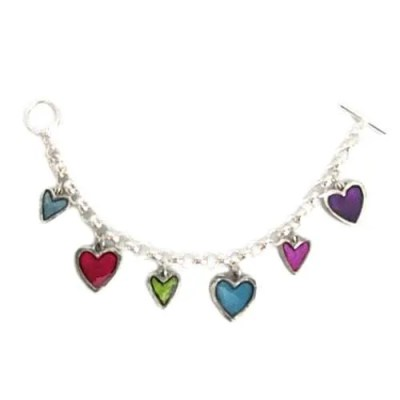 Coloured Hearts Charm Bracelet by Basic Spirit