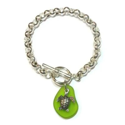 Seaglass Turtle Charm Bracelet by Basic Spirit