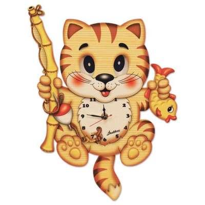 Fishing Cat Clock
