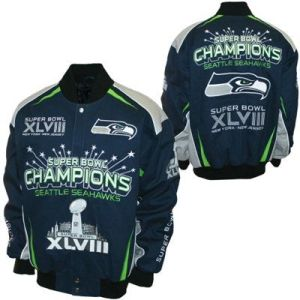 Seattle Seahawks superbowl jacket, seahawks cotton twill superbowl jacket