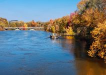View of Iowa River in Iowa City, Iowa during autumn.