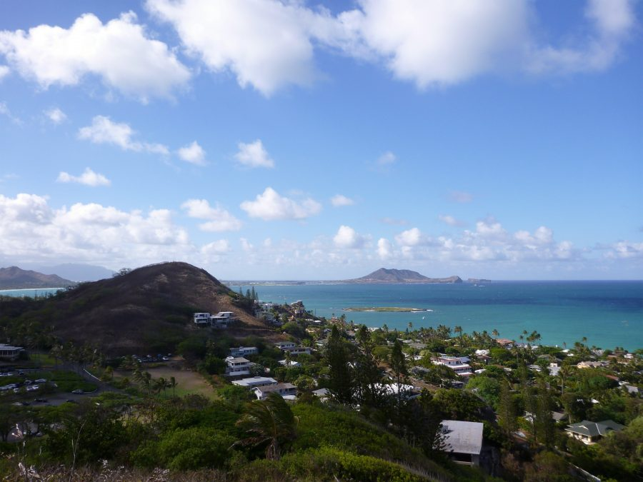Lanikai and Kailua Bay from top mountain on O'ahu, Hawai'i on a beautiful day.