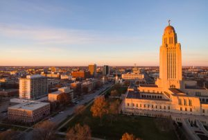 The sun sets over the State Capital Building in Lincoln Nebraska.