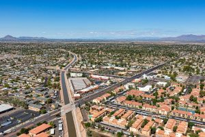 Aerial view from above the consolidated canal in Mesa, Arizona.