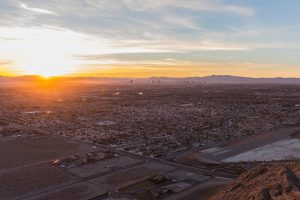 Sunrise dawn view of Las Vegas from Lone Mountain Peak in Clark County Nevada.