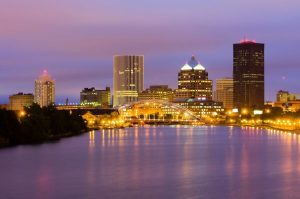 A wide shot of Rochester, New York.