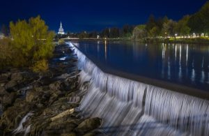 Idaho Falls at the blue hour time.