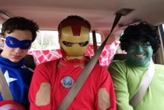 On the way to do a superhero birthday party.