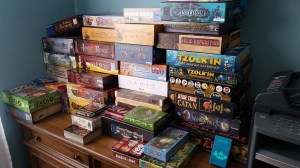"Beth Sobel's ""small"" collection of about 100 games. Photo courtesy: Beth Sobel."