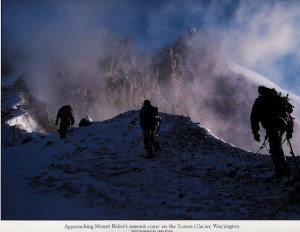 This was one of Rogel's first profitable photographs of a Mount Baker climb some twenty years ago. Photo courtesy: Rogel Media.