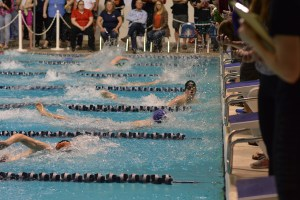 Pearson finishes the 50 free state finals in 21.19 - the third fastest time in 2A state meet history. Photo credit: Grant Clark.