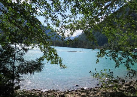 Diablo Lake, seen here from the shores of the Cascade Mountain Institute, is a teal paradise in the hidden reaches of Whatcom County. Photo credit: Anna Black.