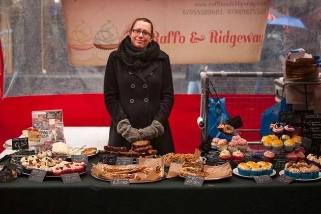 Amanda with her award-winning cupcakes at Raffo & Ridgeway