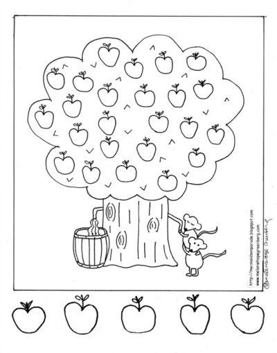 fall fun apple tree coloring page