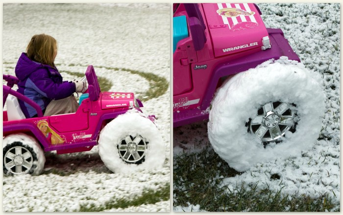 Barbie Jeep in the snow
