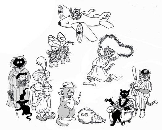 Halloween kitty group portrait