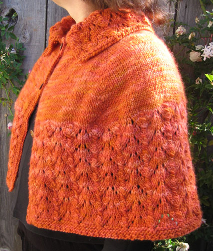 The lovely orange shrug, side view