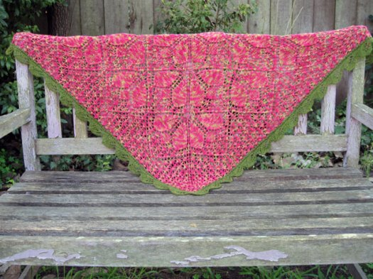 Petal Shawl, on the bench