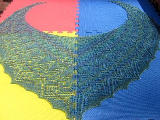 Blocking the shawl