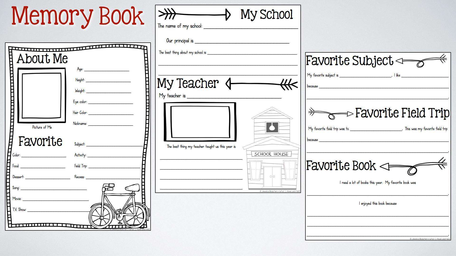 End Of The Year Memory Book Amp Activities What I Have Learned
