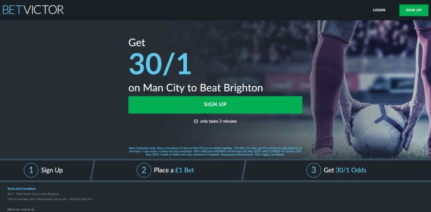 30/1 man city new customers matched betting offer